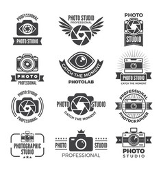 logotypes and symbols of photo studios vector image