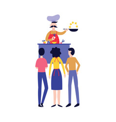 male chef cooking food in front people flat vector image