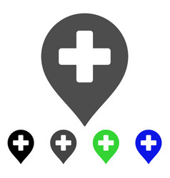 Medical cross marker flat icon vector