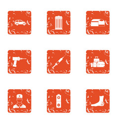 Medical stores icons set grunge style vector