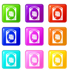 Medical tonometer icons set 9 color collection vector