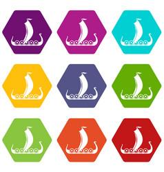 medieval boat icon set color hexahedron vector image vector image