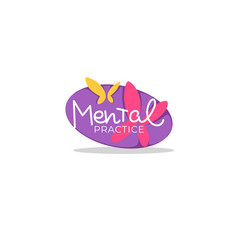 mental practice lettering composition in doodle vector image