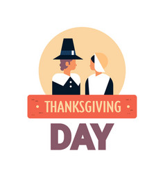native american couple thanksgiving day concept vector image