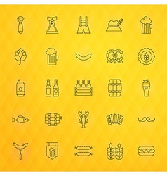 Oktoberfest beer thin line icons set vector