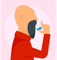 old man with inhaler background flat style vector image