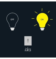On and off light bulbs with tumbler switch Idea vector