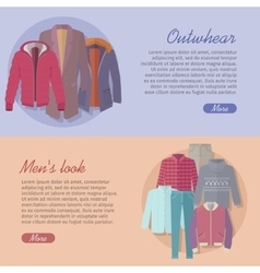 Outerwear Mens Look Web Banner Autumn Winter vector