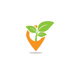 Pin map leaf sprout agriculture logo design vector