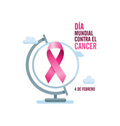 pink cancer ribbon with spanish text and globe vector image