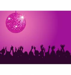 purple disco ball and crowd vector image