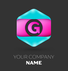 realistic letter g logo in colorful hexagonal vector image