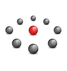 Red sphere surrounded black vector image