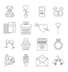 Saint Valentine icons set outline style vector