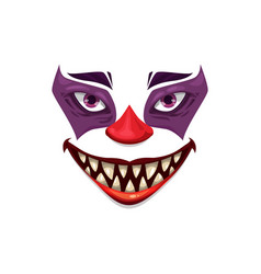Scary clown face icon halloween funster vector
