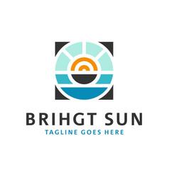 Sea sun inspiration logo design vector