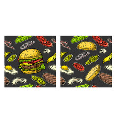 seamless pattern burger and ingredients include vector image