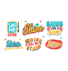 set banner with shine like a star typography vector image