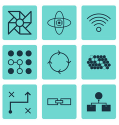 set of 9 machine learning icons includes solution vector image