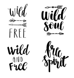 Set of boho style lettering quotes and hand drawn vector