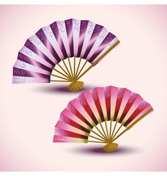 Set of colorful Japanese fans isolated vector