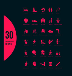 set simple icons traumatology vector image
