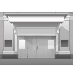 Shop Building Store Front with Closed Glass Door vector
