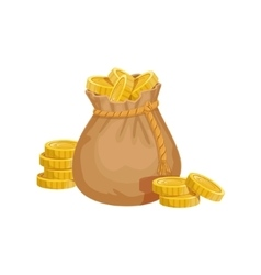 Small Sack With Golden Coins Hidden Treasure And vector image
