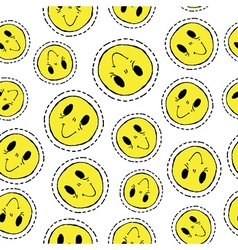 Smiley face retro patch icon seamless pattern vector image