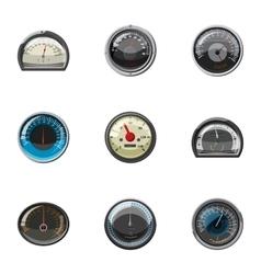 Speed measurement icons set cartoon style vector