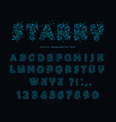Starry modern font abstract polygonal letters and vector