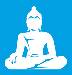 Statue of buddha sitting in lotus pose icon white vector