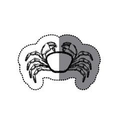 Sticker monochrome blurred line contour with crab vector