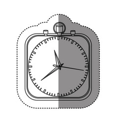 sticker of monochrome stopwatch in shape square vector image