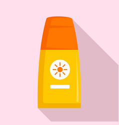 Sunscreen bottle lotion icon flat style vector