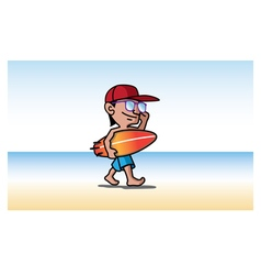 surfer mascot design vector image