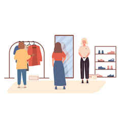 Trying on clothes vector
