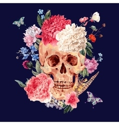 Watercolor card with skull and pink peony vector