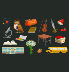 welcome back to school symbols owl and table bus vector image