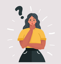 Woman holding a question mark vector