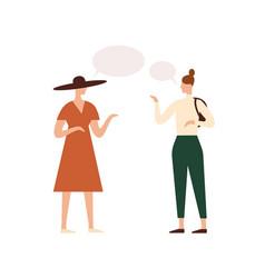 women with empty speech bubbles flat vector image