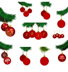 xmas tree branches with balls vector image