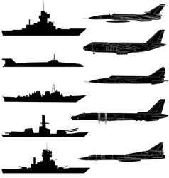 a set of military aircraft ships and submarines vector image