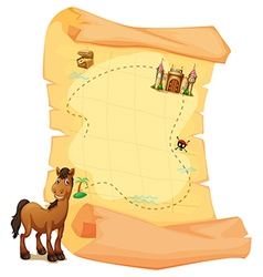 A treasure map and a smiling brown horse vector image vector image