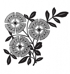 antique floral corner engraving vector image