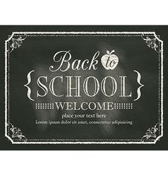 Back to School black chalk board background vector image