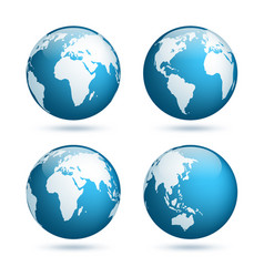 earth globe world map set planet with continents vector image