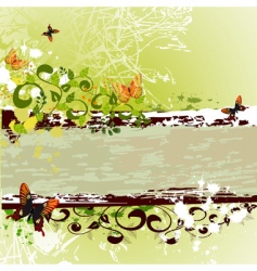 grunge banner design with butterflies vector image vector image
