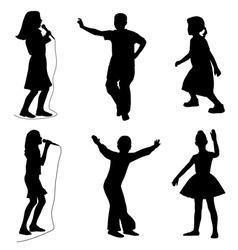 kids singing dancing vector image
