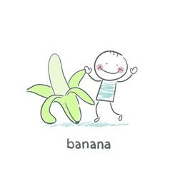 Man and banana vector image